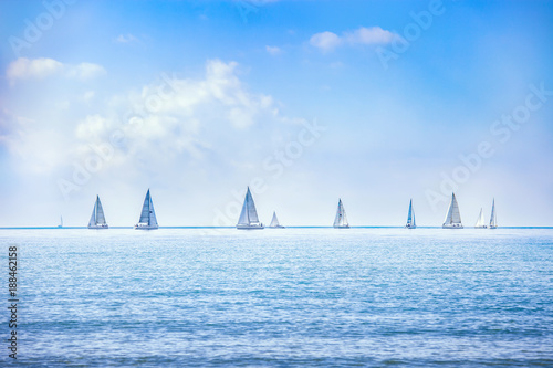 Valokuva Sailing boat yacht regatta race on sea or ocean water