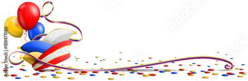 Karneval Fasching Banner Mit Narrenkappe Konfetti Luftschlangen