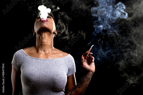 Photo  african female smoking