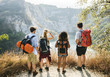 canvas print picture - Backpackers on an adventure