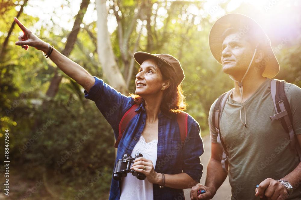 Fototapety, obrazy: Couple trekking together
