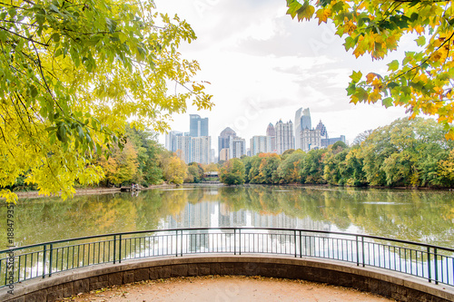 Atlanta Skyline Piedmont Park and Lake in the Fall Canvas Print