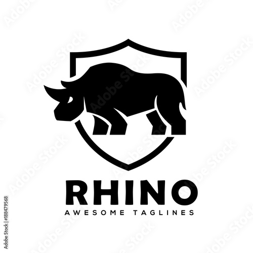 rhino with shield logo vector rhinoceros shield logo monochrome