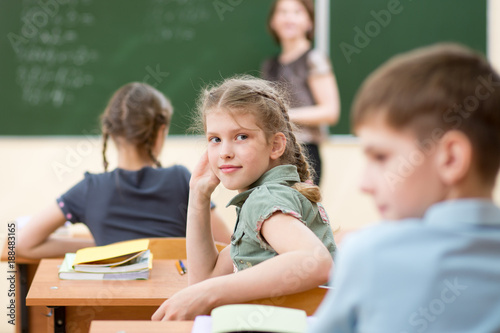 Happy schoolchildren sitting at desk, classroom
