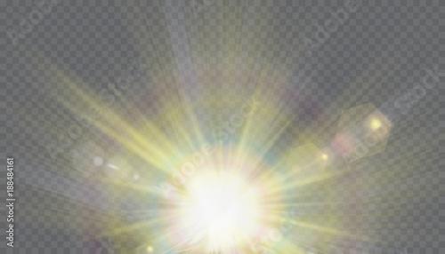 Fototapeta transparent sunlight special lens flash light effect.front sun lens flash obraz na płótnie