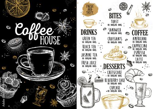 Coffee house menu. Restaurant cafe menu, template design. Food flyer. © oldesign