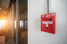 Red Fire Alarm Mounted On The ...