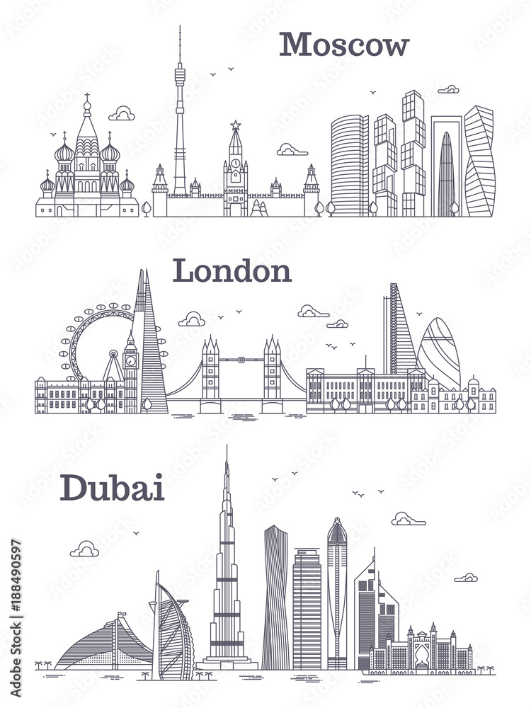 Photo & Art Print Moscow, London, Dubai linear landmark   EuroPosters