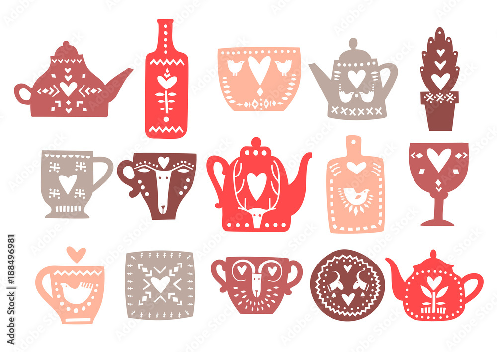 Fotografie, Obraz Vector set of hand drawn teapots with hearts and Scandinavian ornaments