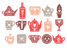 Vector Set Of Hand Drawn Teapots With Hearts And Scandinavian Ornaments.