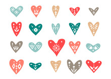 Vector Set Of Hand-drawn Hearts With Scandinavian Ornaments.