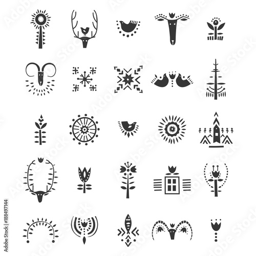 Vector set of hand drawn decorative animals and plants in Scandinavian style Slika na platnu