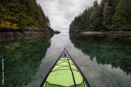 Kayaking near Port Hardy, Vancouver Island, BC, Canada.