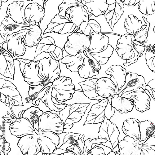Cotton fabric hibiscus seamless pattern