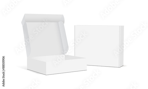 Fotografija Two blank packaging boxes - open and closed mockup, isolated on white background