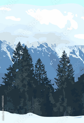Aluminium Prints Wolf double exposure mountain landscape with fir trees