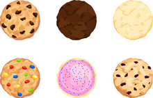 Six Chocolate Chip, Fudge, Sugar, Candy, Iced, And Oatmeal Cookies. Flat View.