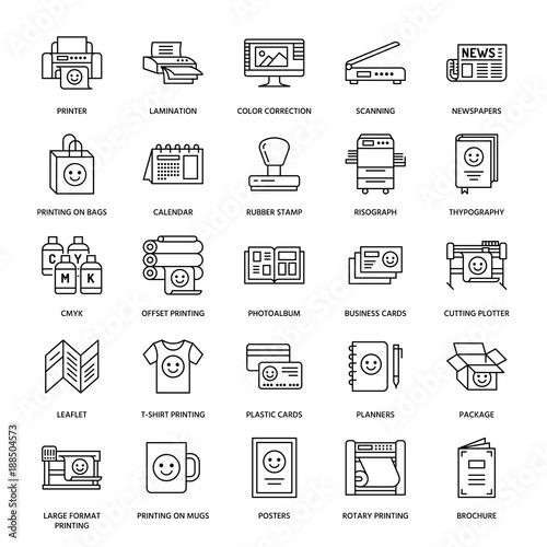 Printing house flat line icons. Print shop equipment - printer, scanner, offset machine, plotter, brochure, rubber stamp. Thin linear signs for polygraphy office, typography. Wall mural