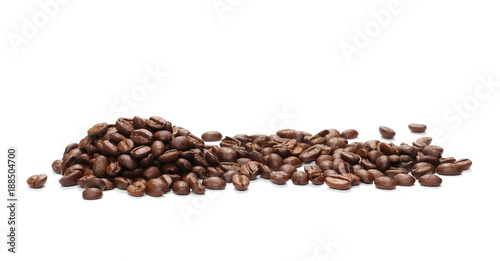 Fényképezés  Pile coffee beans isolated on white background and texture, top view