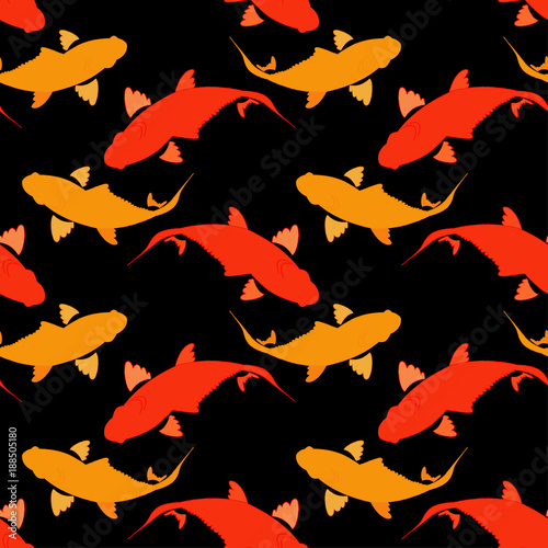 Poster Geometrische dieren Seamless pattern with koi carp fish. Background in the Chinese style. Textile rapport.