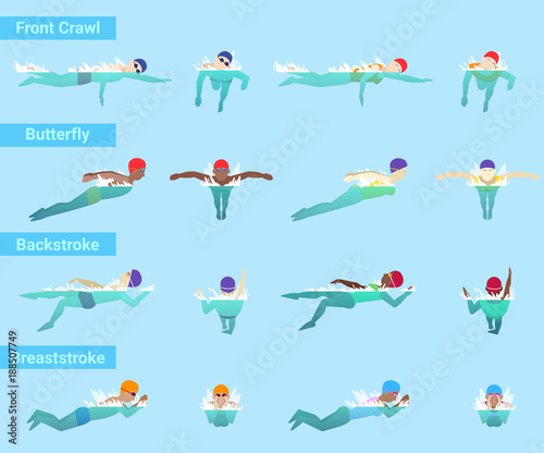 Photo Swimming vector swimmer sportsman swims in swimsuit and swimmingcap in swimmingp