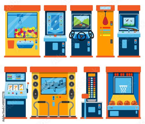 Game machine arcade vector gambling games in casino gamesome gambler or gamer be Wallpaper Mural