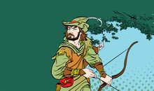 Robin Hood Standing With Bow A...