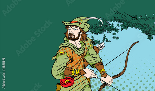 Photo Robin Hood standing with bow and arrows