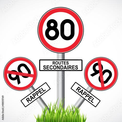 Fotografie, Obraz  limitation à 80 km/h sur les routes secondaires