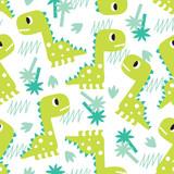 Fototapeta Dinusie - seamless green dinosaur pattern vector illustration