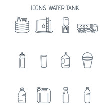 Linear Icons Water Tanks