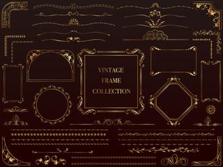 金色のビンテージフレーム&ボーダーセット