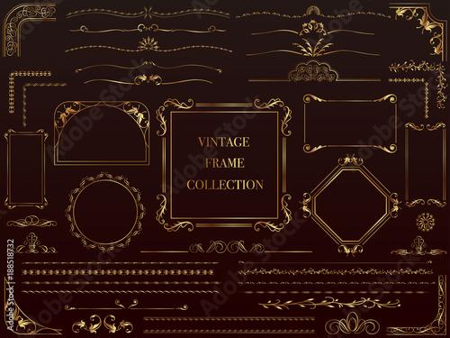 金色のビンテージフレーム&ボーダーセット Wallpaper Mural