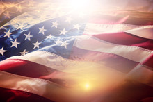 USA Flag. American Flag. American Flag Blowing Wind At Sunset Or Sunrise.