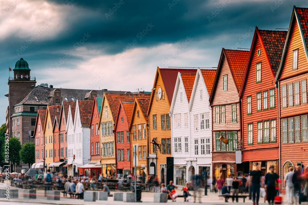Fototapety, obrazy: Bergen, Norway. Tourists People Visiting Historical Landmark Houses