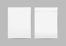 Vector Blank White Paper C4 Envelope With Transparent Background.