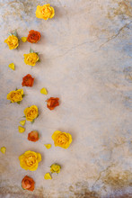 Orange And Yellow Roses. Flat ...