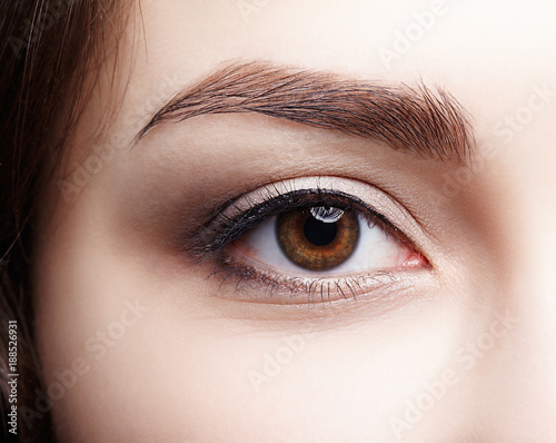 Fotografie, Obraz  Closeup macro shot of  human brown female eye