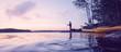 Angler am abendlichen See