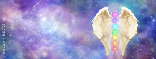 Fényképezés  Angelic Cosmic Guardian - bright and beautiful cosmos background   with a pair o