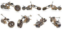 Handmade Motorcycle, Chopper, Cruiser Composed Of Metal Parts, Bearings, śtubokrętów, Candles Motor, Wires, Chains.