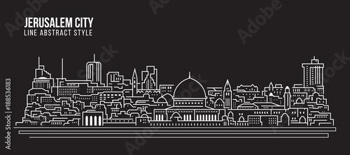 Line Drawing Jerusalem : Cityscape building line art vector illustration design