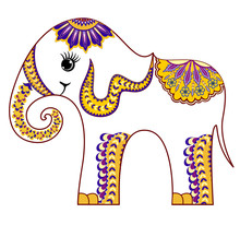 Smiling Little Baby Elephant With Decorative Pattern In Yellow Lilac Tones