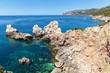Palma de Mallorca, the sea overlooking the rocky mountains. the sea on Palma de Mallorca
