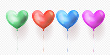 Heart Balloons Transparent Set Of Isolated Glossy Ballons For Valentines Day, Wedding Or Birthday Greeting Card Design. Vector Heart Helium Balloon Green, Blue, Red And Purple Party Decorations