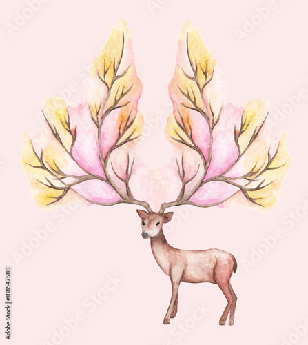 watercolor illustration isolated deer, big antlers, mountain tree branch - 188547580