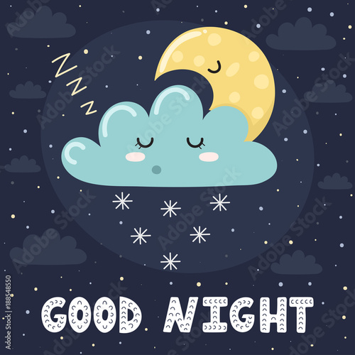 Good Night Card With Cute Sleeping Cloud And The Moon. Sweet Dreams  Background. Vector