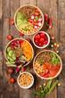 different sort of vegetable salad bowl