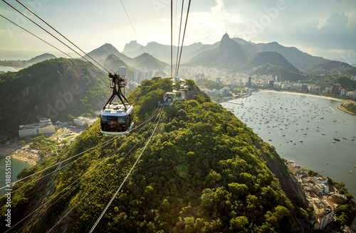 Cable car going to Sugarloaf mountain in Rio de Janeiro, Brazil Canvas Print