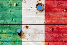 Italy Flag Painted On A Weathered Concrete Wall